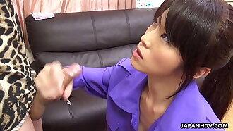 Japanese brunette, Sara Yurikawa sucks dick, uncensored