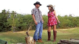 Busty Farm Girl Ass Fucked in Pretty Summer Dress & Leather Boots. Open-air Anal Sex / ATM in Natural Backwoods Setting