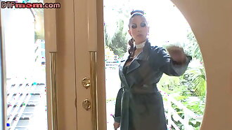 Busty MILF in latex spreads pussy as she wants a rough fuck