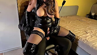 Scheduled Up & Gagged Slave Painfully Denied By Cruel Leather Dominatrix