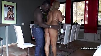 Mature Nude Chrissy asks black guy to fuck her tight pussy