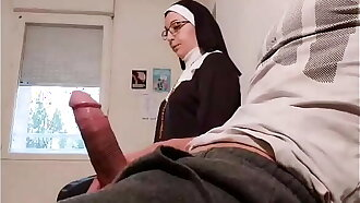 Pervert doctor puts a hidden camera in his waiting room, this slutty nuns  will be caught red-handed with an empty french ball...